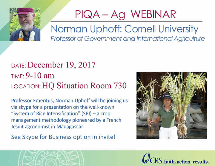 System of Rice Intensification - Upcoming Events